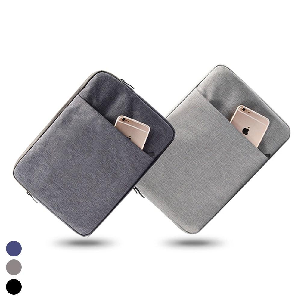 헤이맨 태블릿 아이패드 에어4 8세대 갤럭시탭 S7 플러스 극세사 포켓 파우치, 블랙